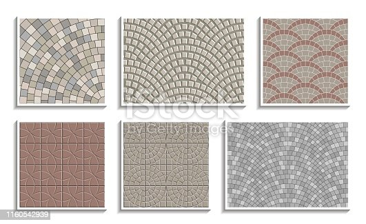 Set of seamless round pavement textures. Vector repeating patterns of radial stone material