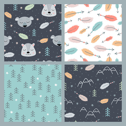 Set of seamless scandinavian patterns with animals and feathers
