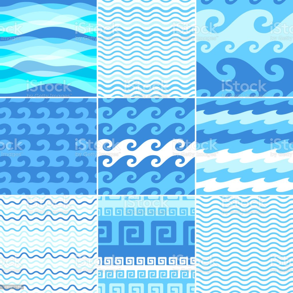 Set of seamless sea waves patterns. vector art illustration