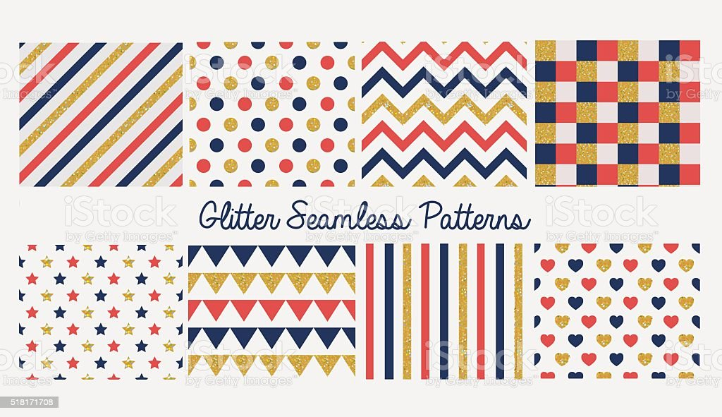 024915e08 Set Of Seamless Simple Cute Baby Patterns With Glitter Elements ...