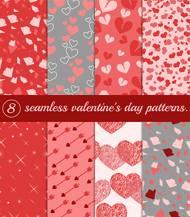 Set of seamless valentine s day patterns in pink colors. Vector image.