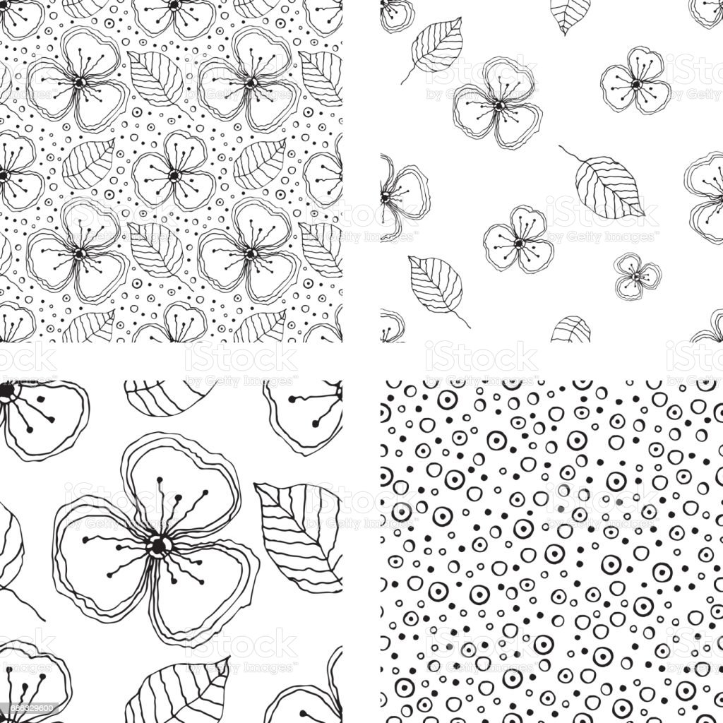Set Of Seamless Vector Floral Patterns Black And White Hand Drawn