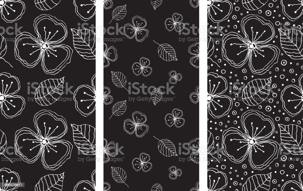Satz Von Nahtlosen Vektor Floralen Mustern Schwarz Weiß