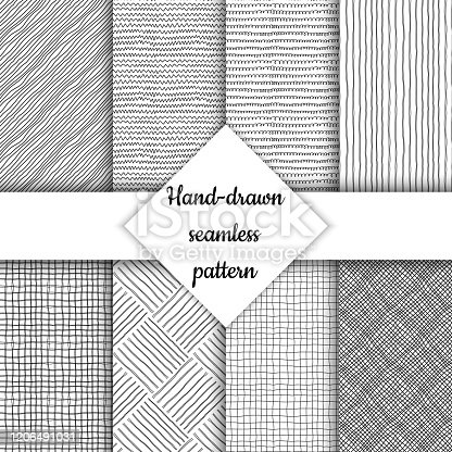 Set of Seamless vector pattern. Hand-drawn textures. Black and white lines on a transparent background. Collection of patterns for your design. Background, wallpaper, template, blank.