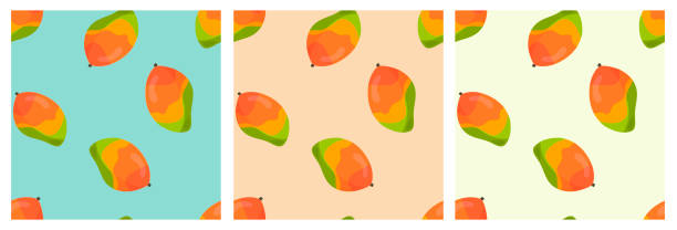 Set of seamless vector pattern with mango vector art illustration