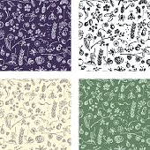 Set of seamless vector patterns, background with hand drawn cute insects, animals, fruits, flowers, leaves, decorative elements Hand sketch line drawing. doodle style Series of Hand Drawn seamless Patterns.