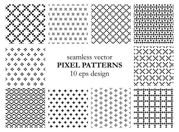 シームレスなベクトルピクセルパターンのセットファブリック、テキスタイル、カバー、ウェブ、ラッピングなどの黒と白の背景10 epsデザインの壁紙のコレクション。 - 編む点のイラスト素材/クリップアート素材/マンガ素材/アイコン素材