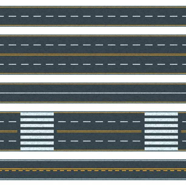 ilustraciones, imágenes clip art, dibujos animados e iconos de stock de conjunto de vector transparente camino de fondo. carreteras de asfalto recto con diferentes tipos de marca de camino. - overhead