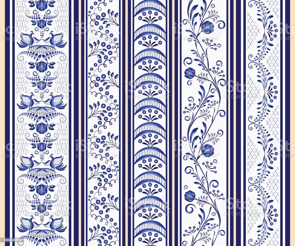 Set of seamless vertical borders in the ethnic style of painting on porcelain. vector art illustration