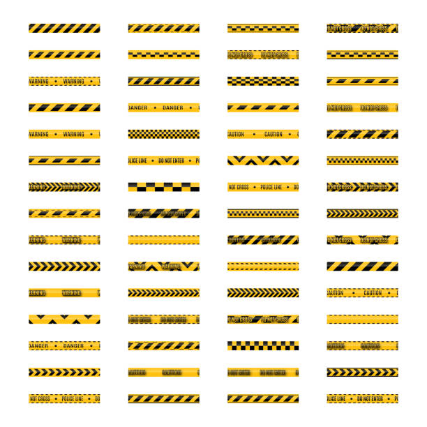 Set of seamless yellow and black warning tapes, vector illustration. Set of seamless yellow and black warning tapes with text do not cross, warning, caution. Isolated on white background. Design elements for reconstruction, vector illustration. tape stock illustrations