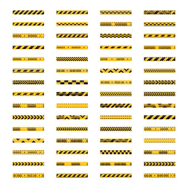 ilustraciones, imágenes clip art, dibujos animados e iconos de stock de conjunto de transparente color amarillo y negro de advertencia precaución tapes, ilustración del vector. - tape