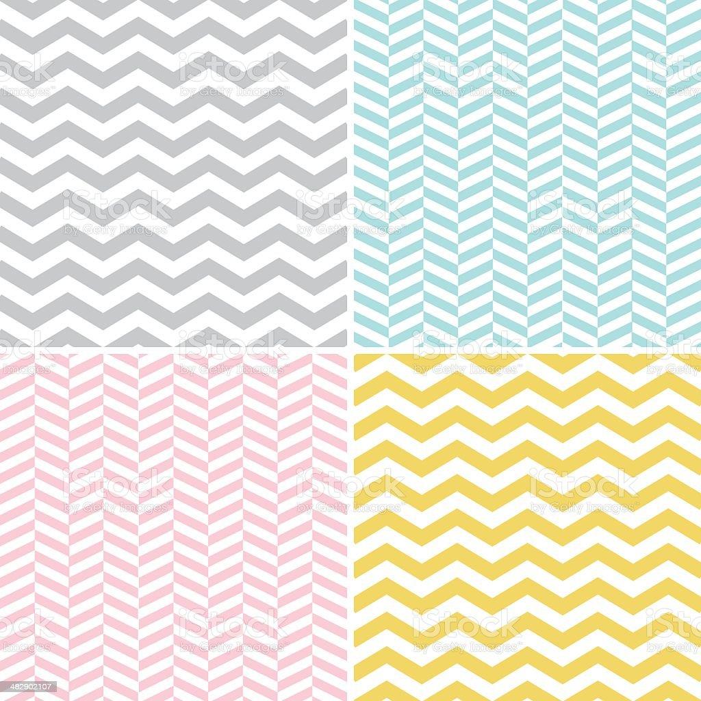 Set of Seamless Zigzag (Chevron) Patterns vector art illustration