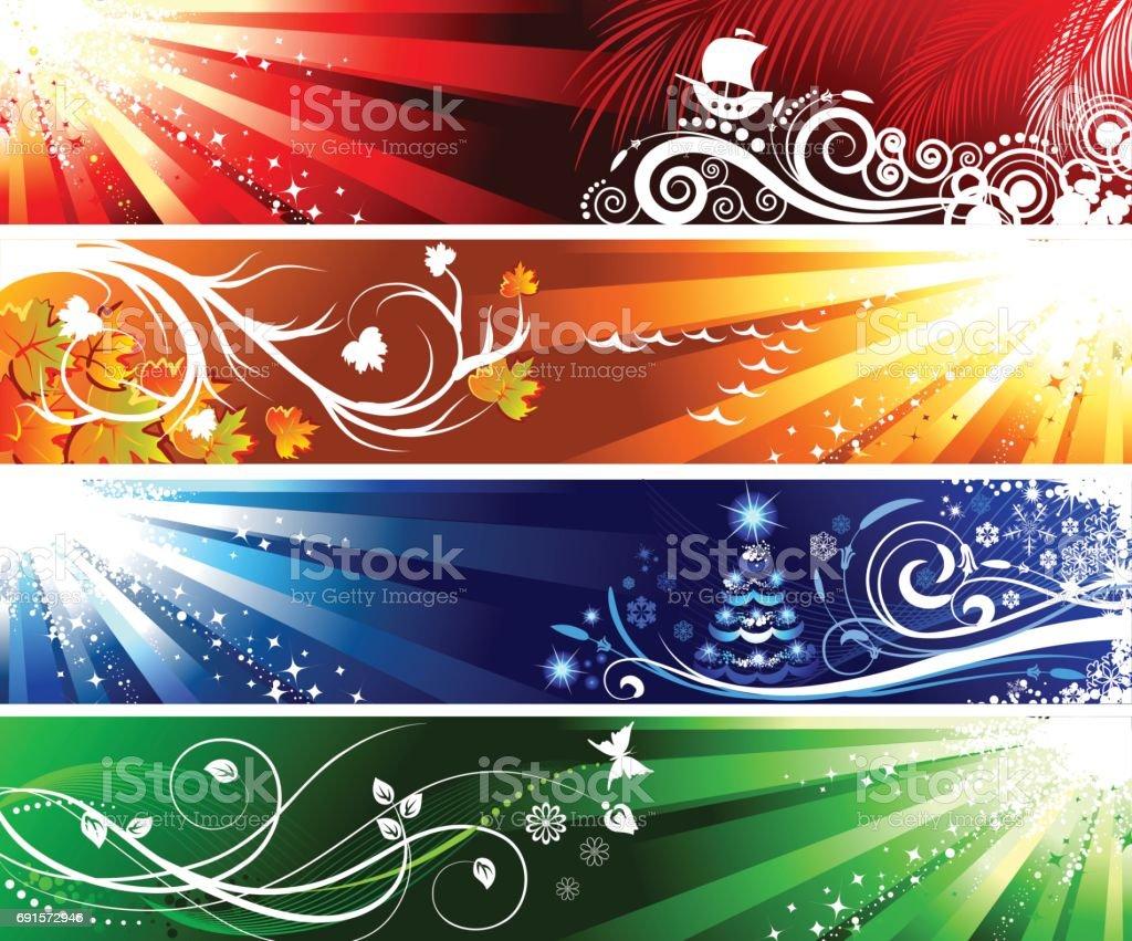 set of season banners vector art illustration