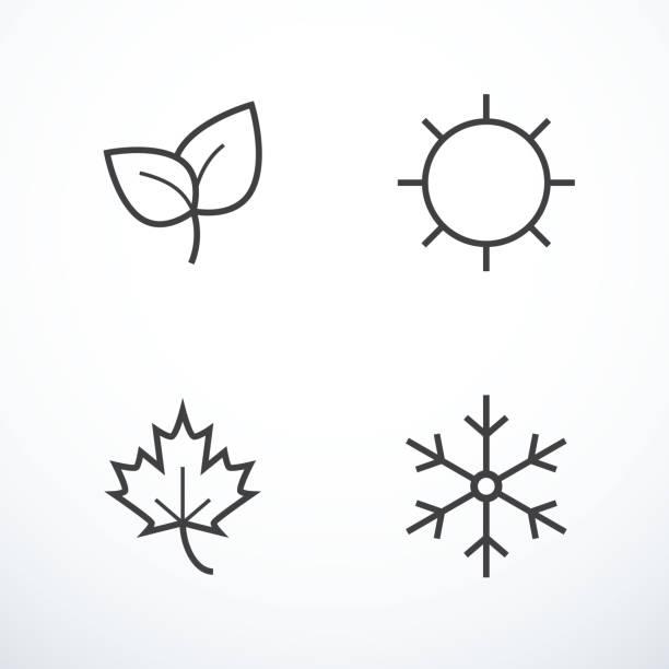 zestaw ikon sezonu. ilustracja wektorowa - four seasons stock illustrations
