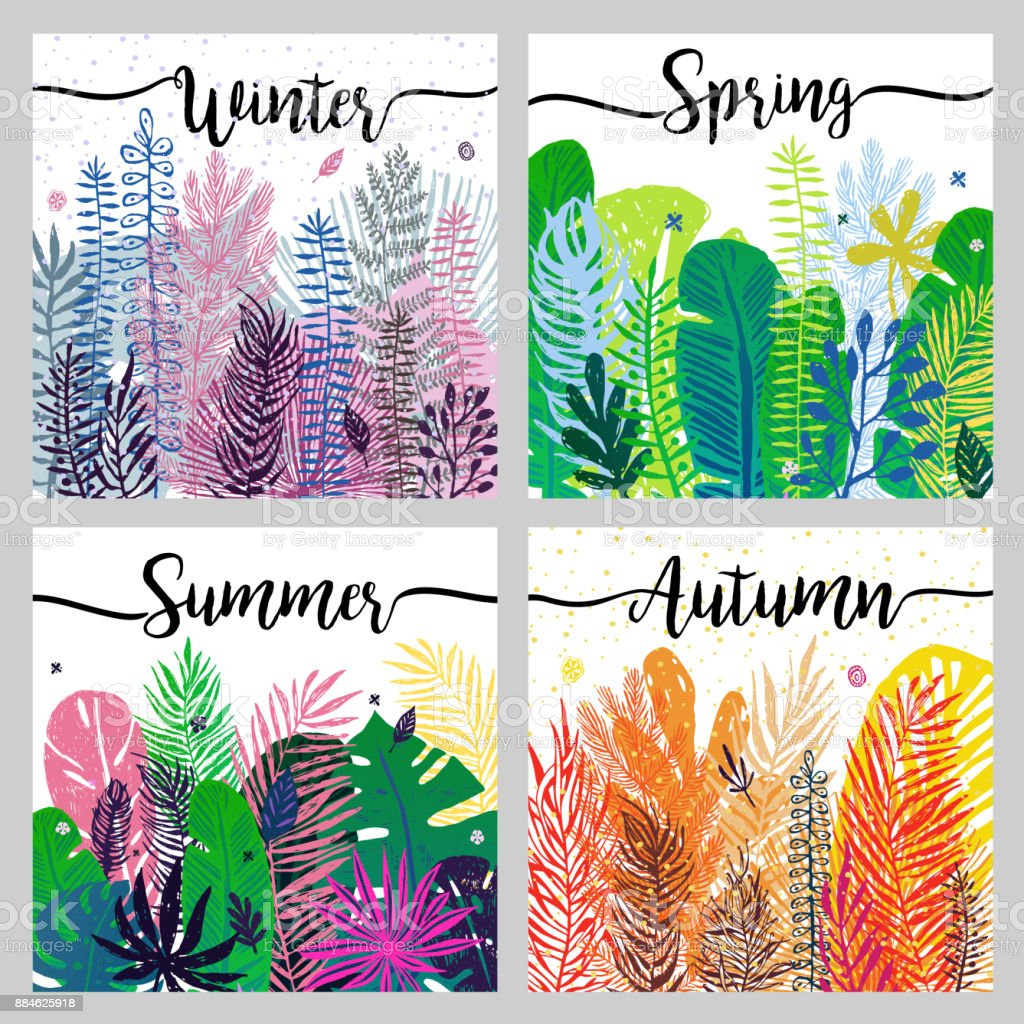 set of seasons background wiht trendy colorful leaves. vector art illustration