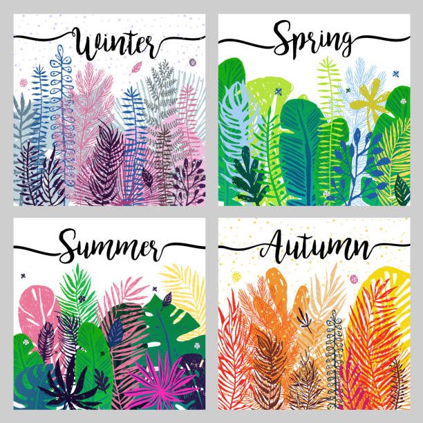 set of seasons background wiht trendy colorful leaves. - abstract calendar stock illustrations, clip art, cartoons, & icons