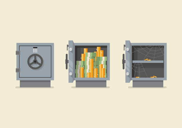 Set of security metal safe infographic Safe in flat style. Vector illustration safes and vaults stock illustrations