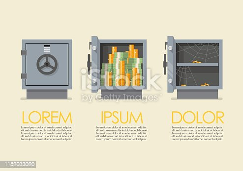 Set of security metal safe infographic. Vector illustration