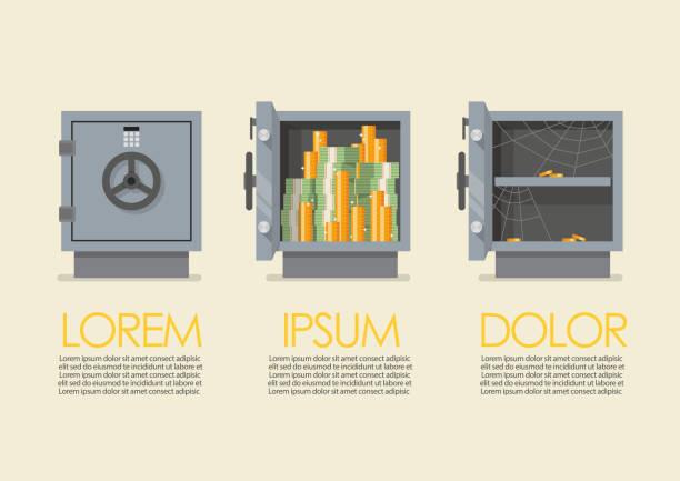 stockillustraties, clipart, cartoons en iconen met set van veiligheid metalen veilige infographic - brandkast beveiligingsapparatuur