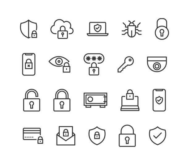 ilustrações de stock, clip art, desenhos animados e ícones de set of security ,protection , related vector line icons editable stroke. 48x48 pixel perfect. - seguros