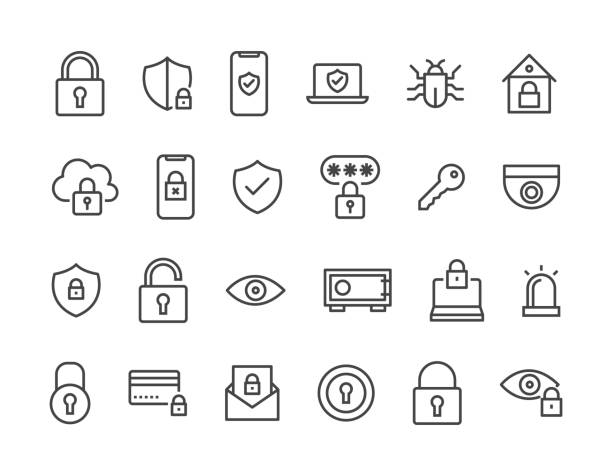 ilustrações de stock, clip art, desenhos animados e ícones de set of security related vector line icons. editable stroke. 48x48 pixel perfect. - seguros