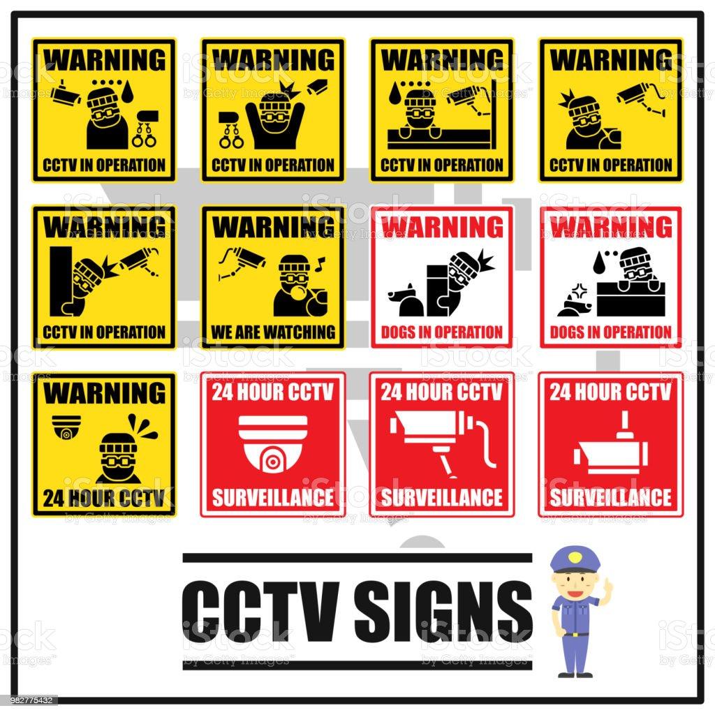 set of security signs and symbols of cctv surveillance warning cctv