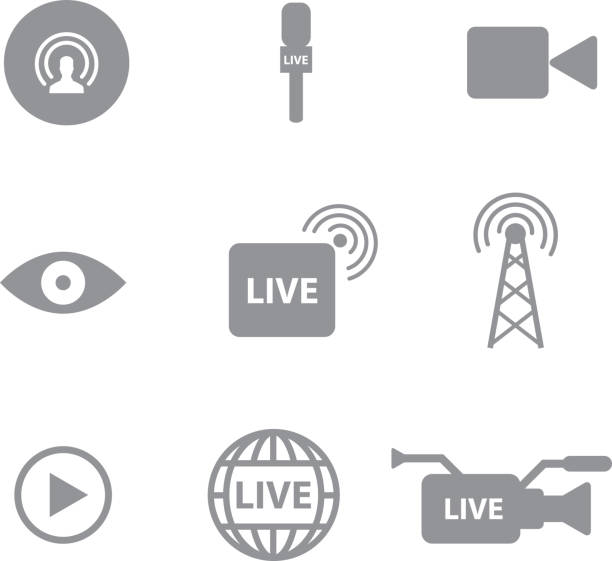 Set of  Self broadcasting or live streaming icons Set of  Self broadcasting or live streaming icons concept on white background nu stock illustrations