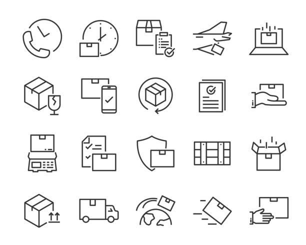 stockillustraties, clipart, cartoons en iconen met set van send iconen, zoals levering, transport, mail, service - versturen