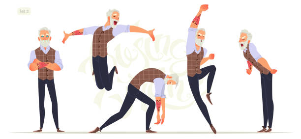 set of senior fashion men in different emotions and expressions. business person in modern fashion look. - old man crying stock illustrations, clip art, cartoons, & icons