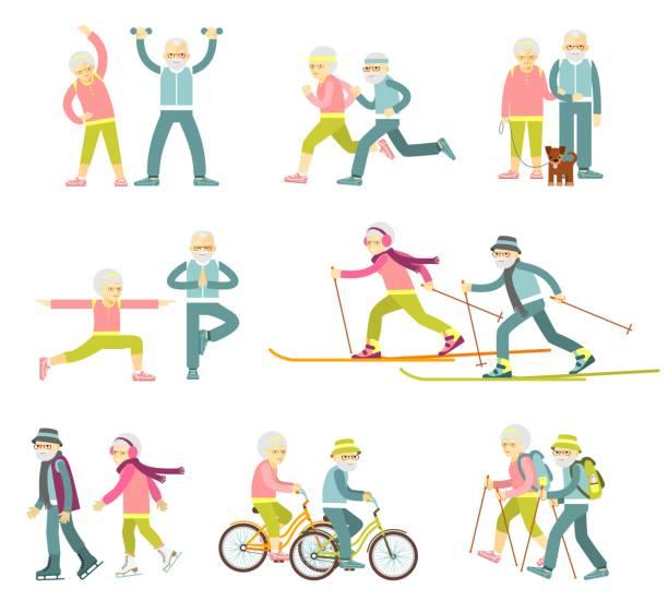 bildbanksillustrationer, clip art samt tecknat material och ikoner med teckenföljd senior man och kvinna i platt stil isolerad på vit bakgrund - medelålders