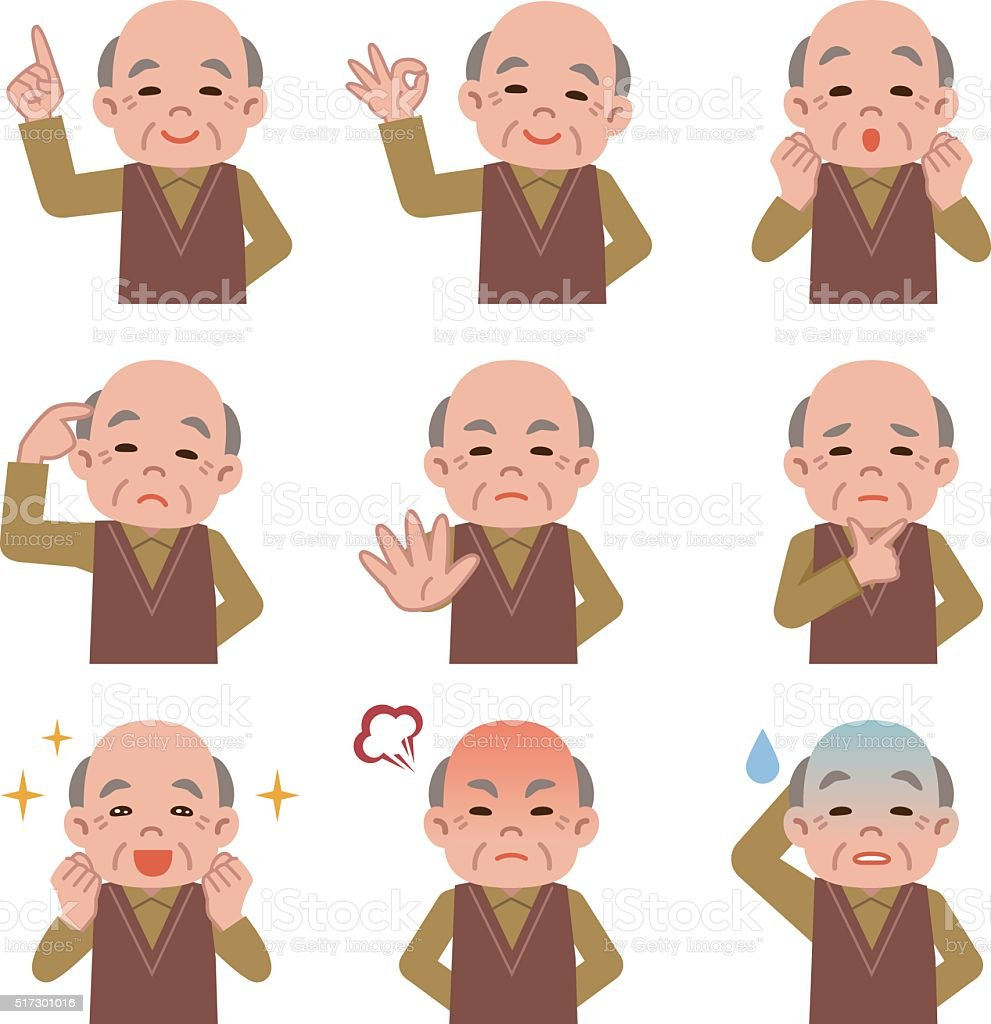 Set of Senior man facial expressions on white background vector art illustration