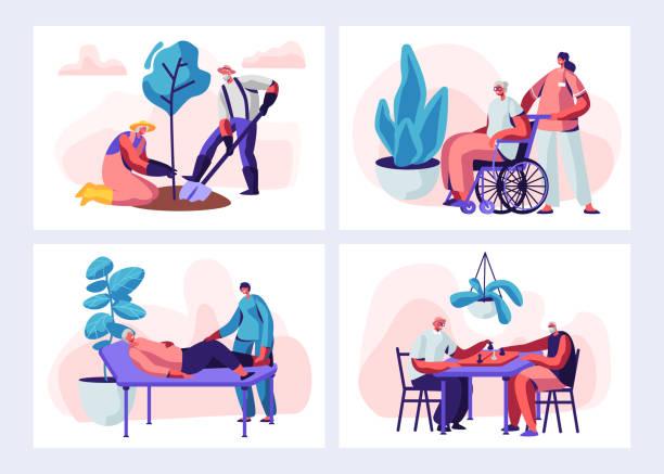 고위 사람들 활동 및 라이프 스타일의 집합입니다. 세 문자 원 예 취미, 의료 절차에 오래 된 여자, 체스를 재생 하는 남자. 은퇴 연금 간호사 가정에서. 만화, 평면 벡터 일러스트 - nursing home stock illustrations