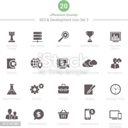 Set of SEO and Development icons Set 2 Vector Illustration