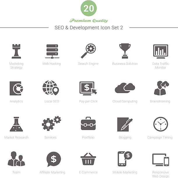 Set of SEO and Development icons Set 2 Set of SEO and Development icons Set 2 Vector Illustration copywriter stock illustrations