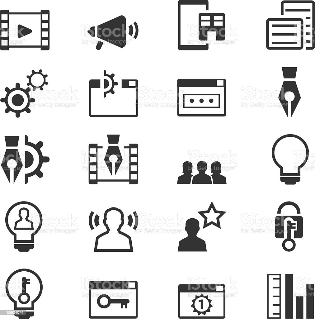 Set of SEO and Development icons vector art illustration
