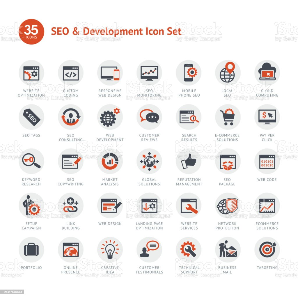 Set of SEO and Development icons vector art illustration