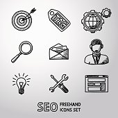 Set of SEO handdrawn icons - target with arrow, tag and world, magnifier, mail, support, idea, instruments, site. Vector illustration