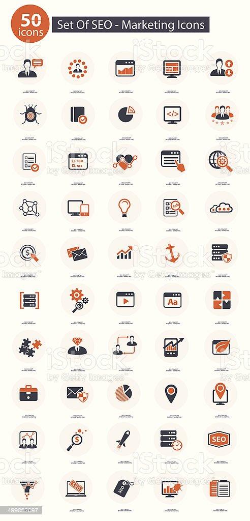 Set Of SEO,Marketing Icons,Orange version,vector vector art illustration