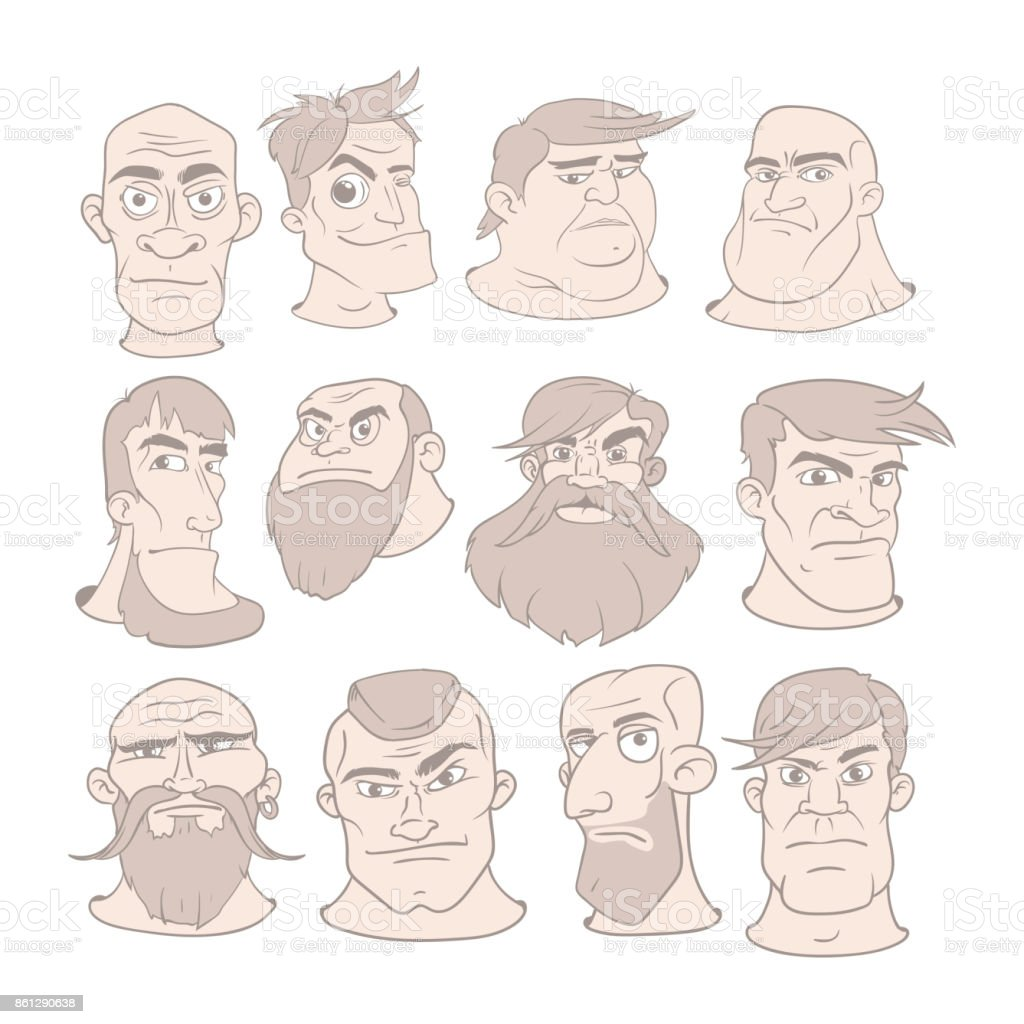 Set of serious man faces with different expressions vector illustration in cartoon style illustration