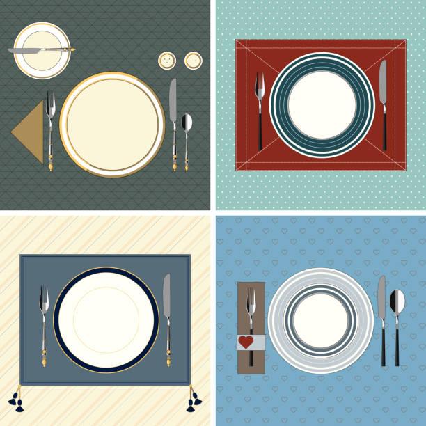 stockillustraties, clipart, cartoons en iconen met set geserveerd tabellen - gedekte tafel