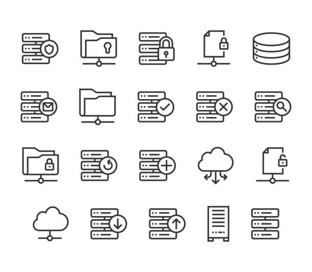 stockillustraties, clipart, cartoons en iconen met set server pictogrammen cloud database bewerkbare beroerte. 48 x 48 pixel perfect. - netwerkserver
