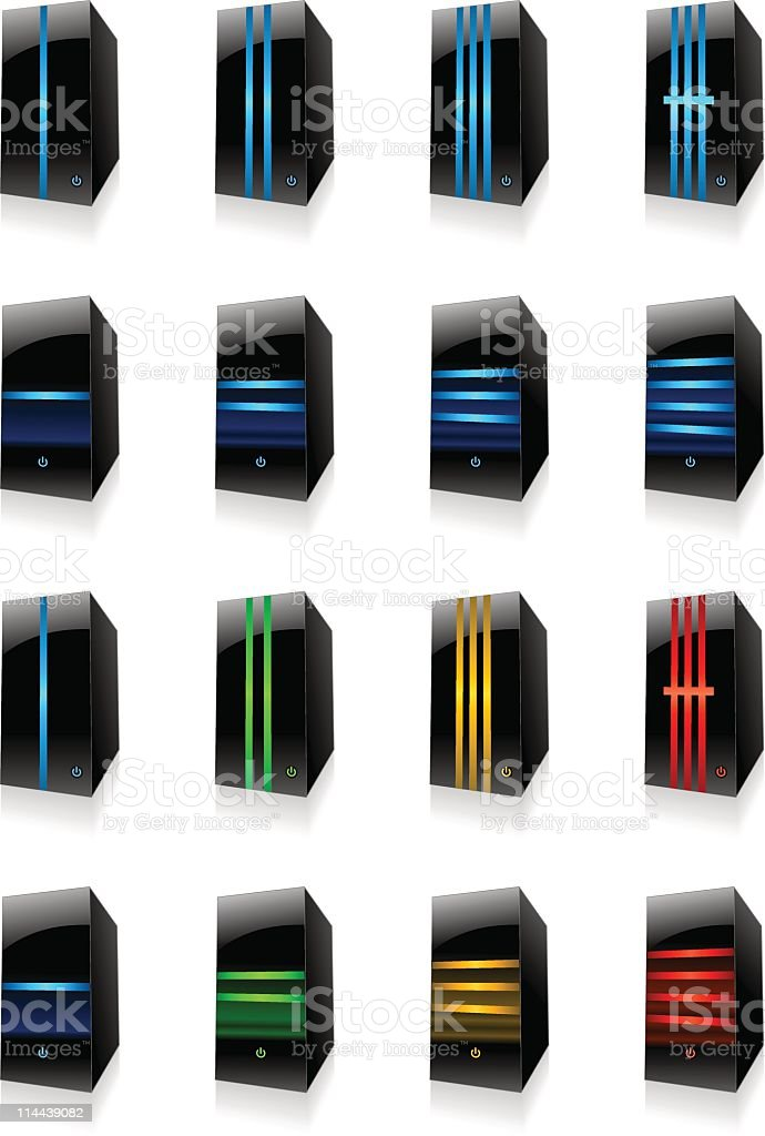 Set of server icons royalty-free stock vector art