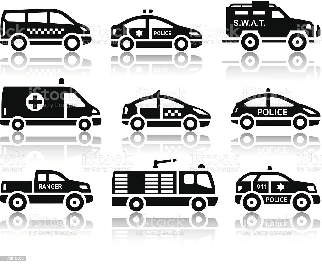 Set of service automobiles black icons vector art illustration