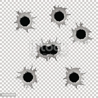 Set of seven bullet holes. Isolated on transparent background. Vector illustration, eps 10