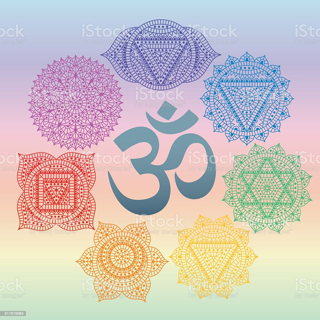 Set of seven chakras and symbol OM in the centre vector art illustration