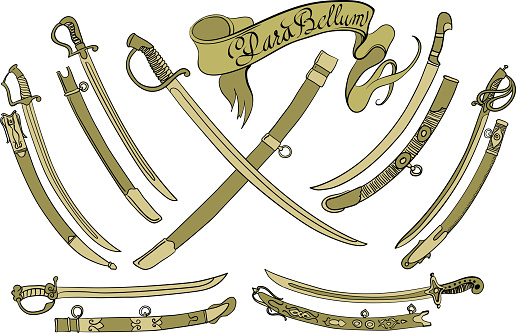 Set of seven different swords with scabbards