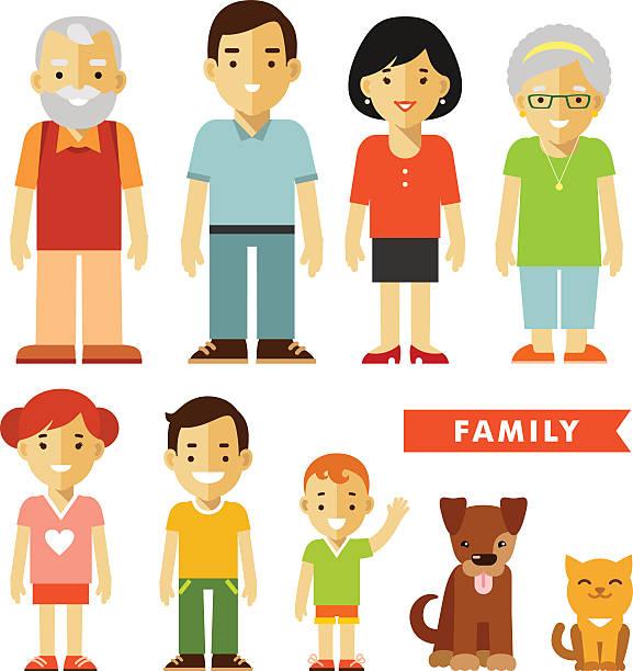 illustrazioni stock, clip art, cartoni animati e icone di tendenza di set di sette familiari in stile piatto - couple portrait caucasian
