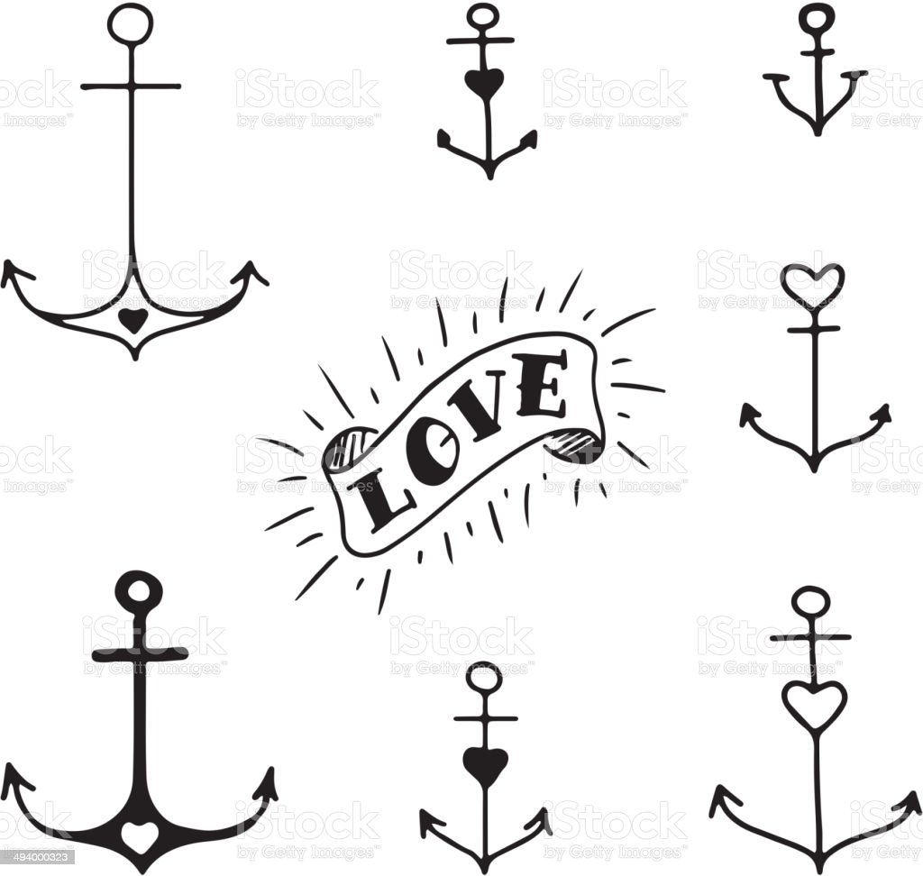Set of seven hand drawn anchors vector art illustration