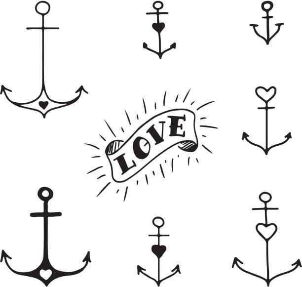 ilustraciones, imágenes clip art, dibujos animados e iconos de stock de juego de siete anclajes de dibujo a mano - tatuajes de corazones