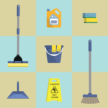 Set of seven icons of cleaning products
